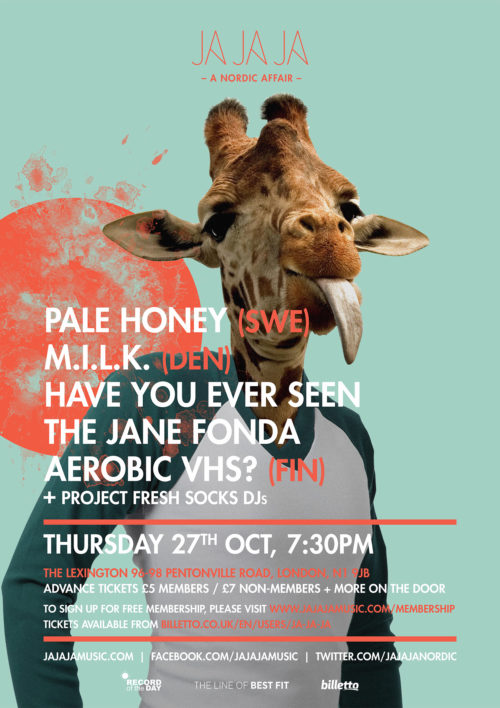 London – October 2016 with Pale Honey, M.I.L.K and Have You Ever Seen The Jane Fonda Aerobic VHS?