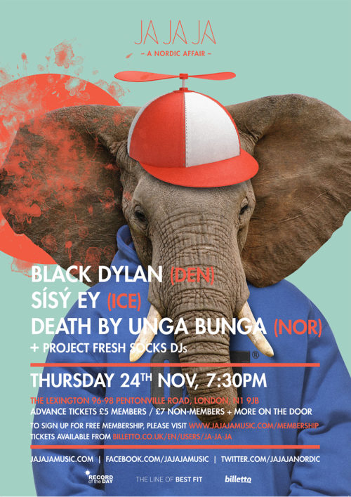 London – November 2016 with Black Dylan, Sísý Ey + Death By Unga Bunga