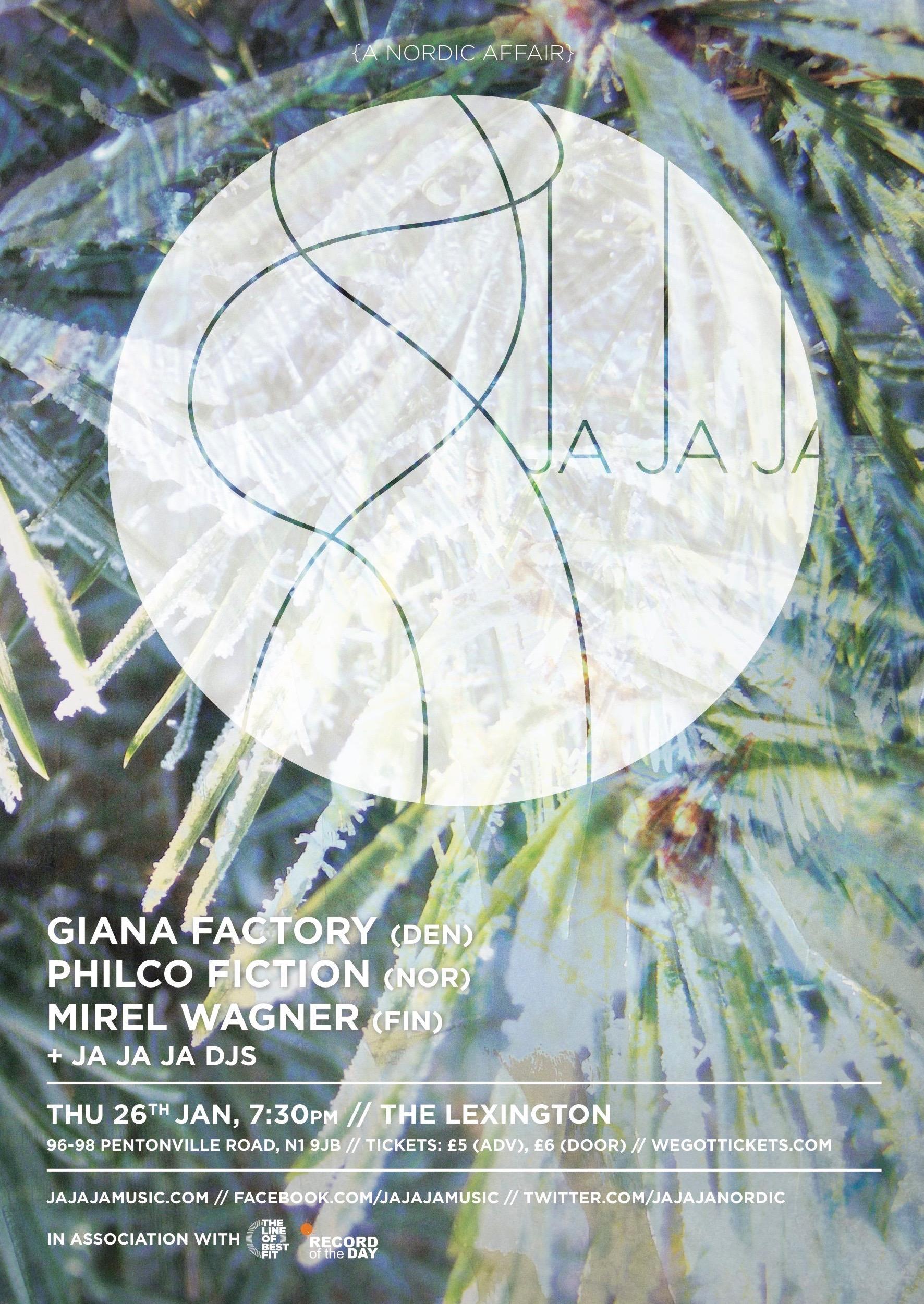 January 2012 – Giana Factory, Philco Fiction & Mirel Wagner