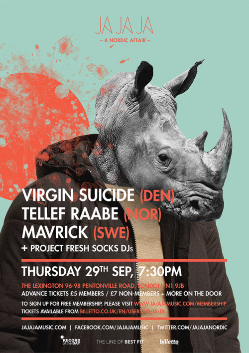 London – September 2016 with Virgin Suicide, Tellef Raabe, Mavrick