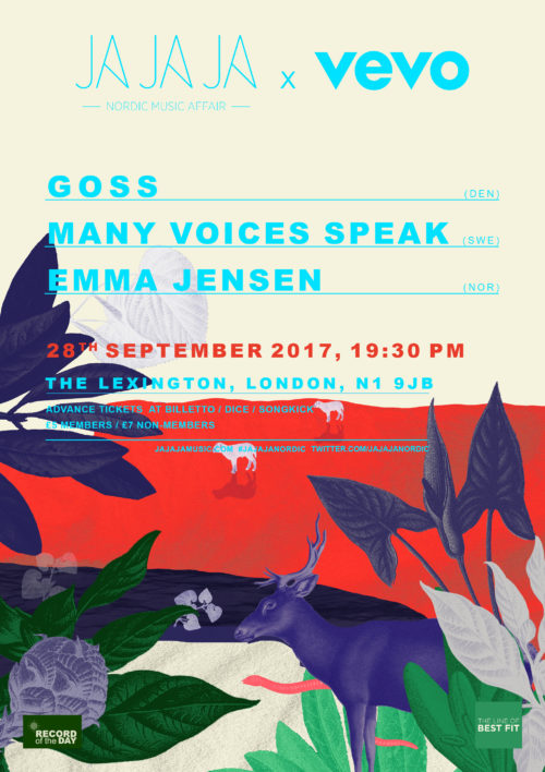 Ja Ja Ja London: September 2017 with Goss, Many Voices Speak + Emma Jensen!